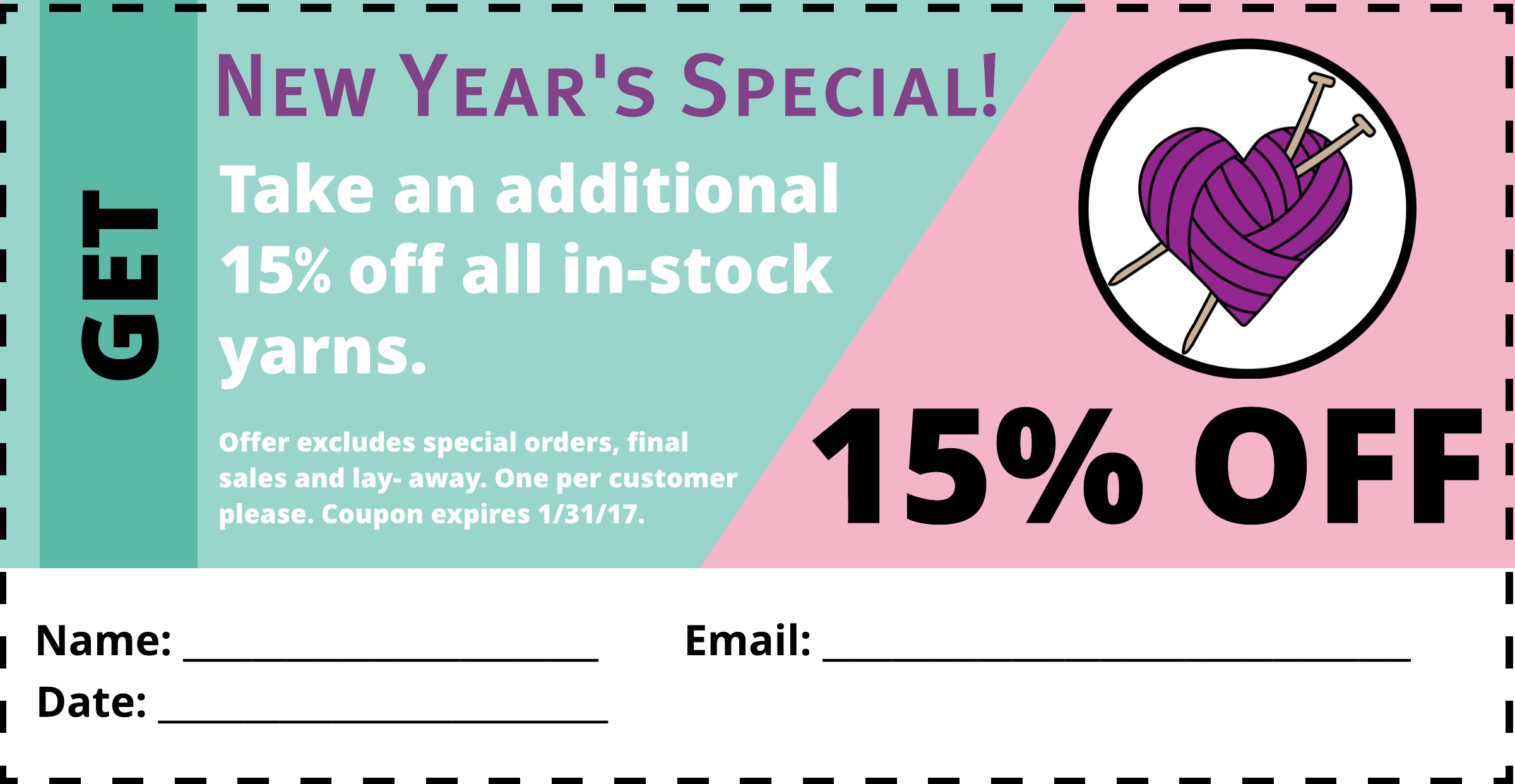 New Years Special! - Take an additional 15% off all in-stock yarns.